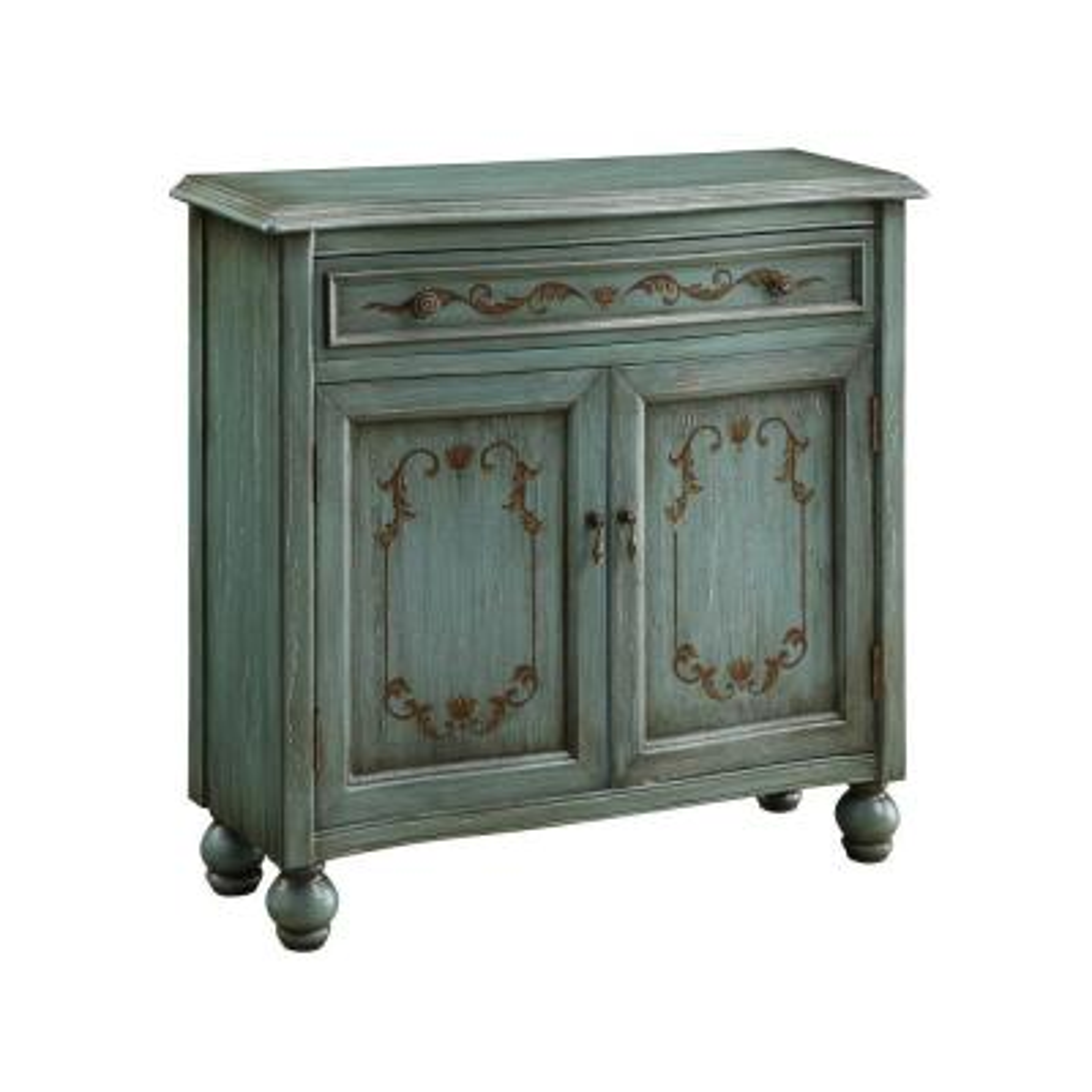 Dearington Teal Blue 1-Drawer 2-Door Cabinet