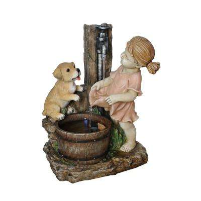 20 in. Girl with Dog Spout Bucket Fountain