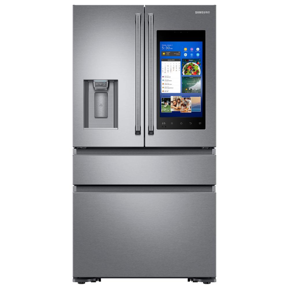 22.2 cu. Ft. Family Hub 4-Door French Door Polygon Handle Smart Refrigerator in Stainless Steel, Counter Depth
