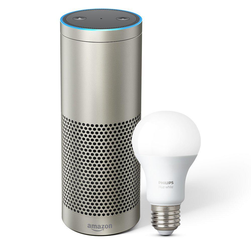 amazon echo plus and philips hue bulb in silver b06xb29fpf the home depot. Black Bedroom Furniture Sets. Home Design Ideas