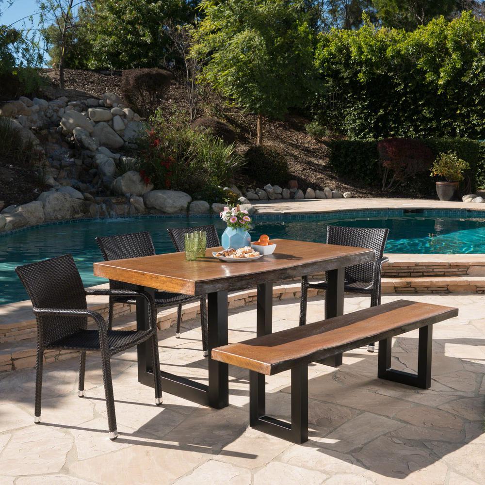 Bernie 30.25 in. Multi-Brown 6-Piece Aluminum Rectangular Outdoor Dining Set