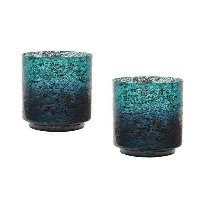 Ombre 6 in. Emerald Glass Hurricane Candle Holders (Set of 2)
