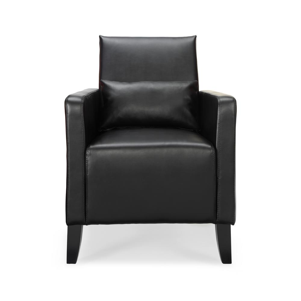 Flare Black Faux Leather with Pillow Arm Chair