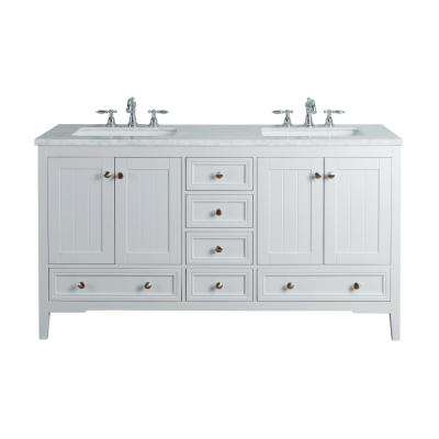New Yorker 60 in. White Double Sink Bathroom Vanity with Marble Vanity Top and White Basin