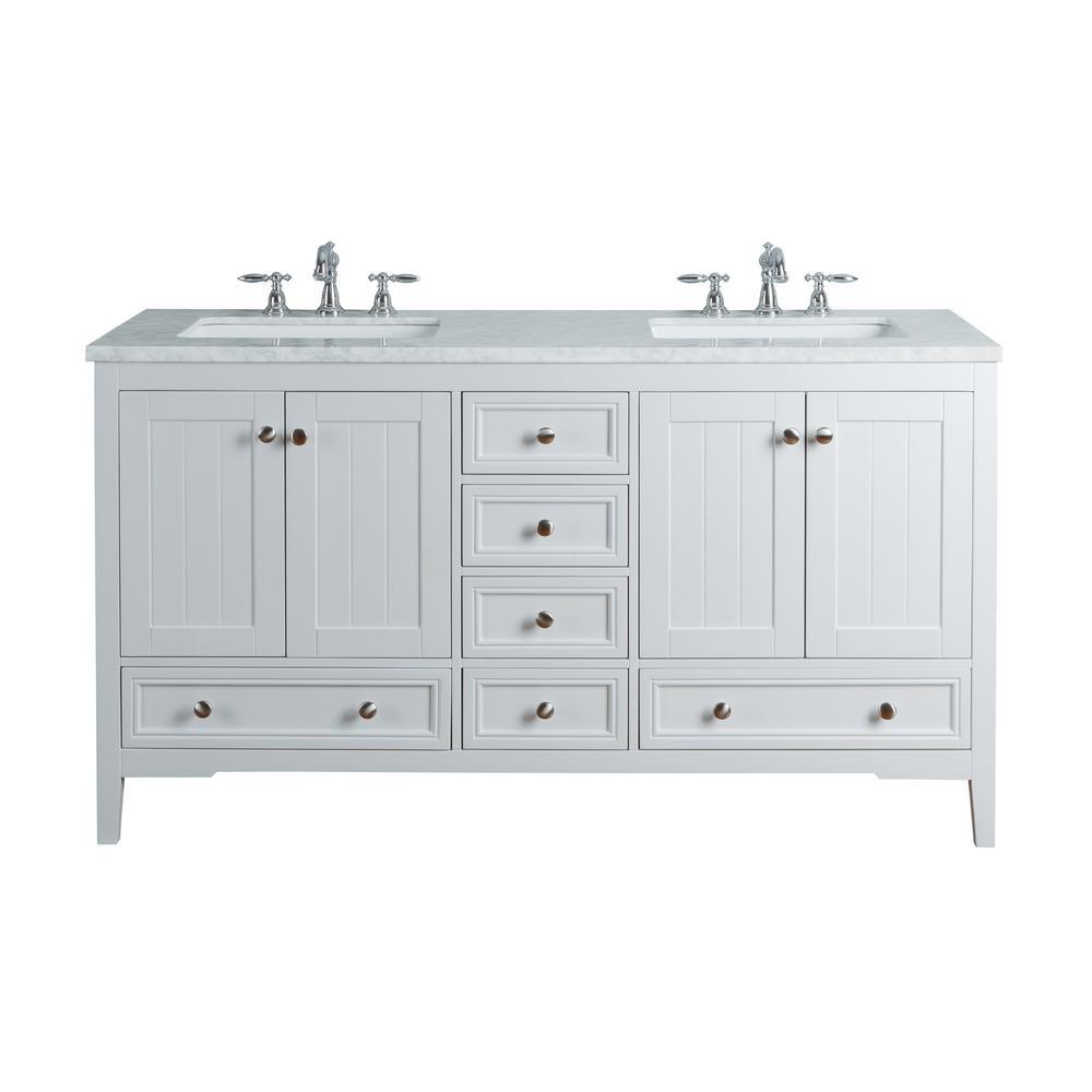Stufurhome Yorker White Double Sink Vanity Marble Vanity Top White Basin