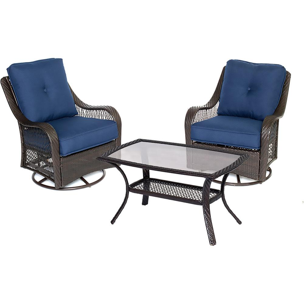 Orleans 3-Piece Wicker Patio Conversation Set with Navy Blue Cushions