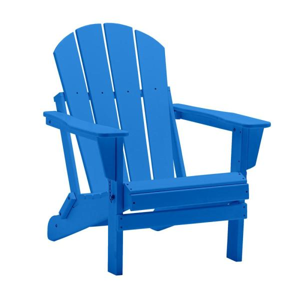 Addison Pacific Blue Folding Poly Outdoor Adirondack Chair