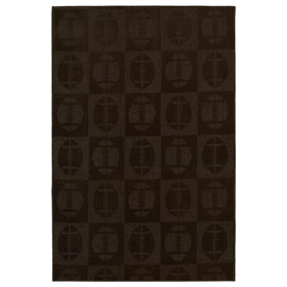 Garland Rug Footballs Chocolate 5 ft. x7 ft. Area Rug-DISCONTINUED