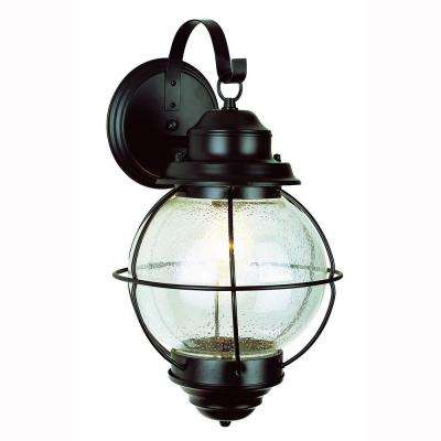 Lighthouse 1-Light Black Outdoor Coach Lantern with Seeded Glass