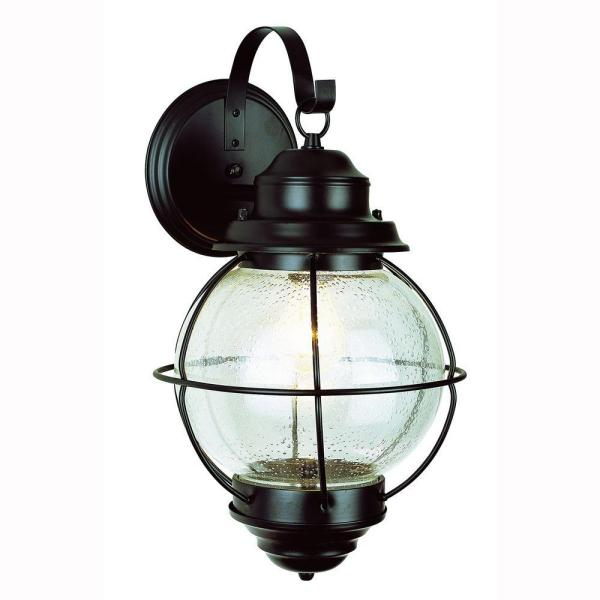 Catalina 10 in. 1-Light Black Outdoor Wall Lantern Sconce with Seeded Glass