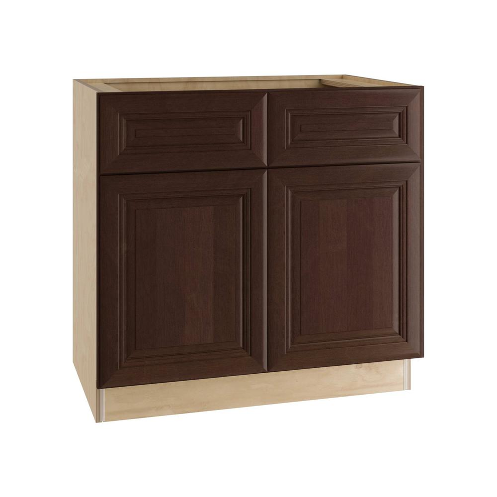 Home Decorators Collection Roxbury Assembled 36x34.5x24 in. Double Door Base Kitchen Cabinet, 2 Drawers & 2 Rollout Trays in Manganite