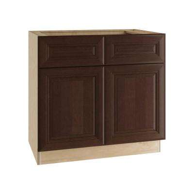 Roxbury Assembled 36x34.5x24 in. Double Door Base Kitchen Cabinet, 2 Drawers & 2 Rollout Trays in Manganite