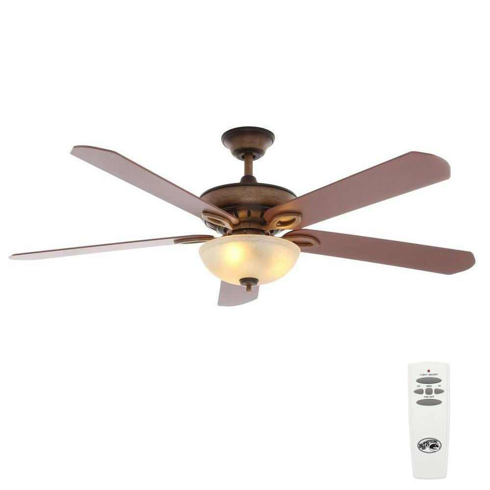 Hampton Bay Asbury 60 in. Indoor Gilded Espresso Ceiling Fan with Light Kit and Remote Control