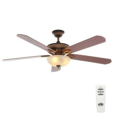 Asbury 60 in. Indoor Gilded Espresso Ceiling Fan with Light Kit and Remote Control