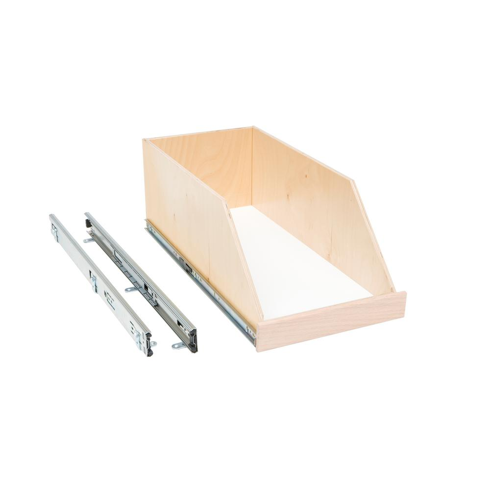 Slide-A-Shelf Made-To-Fit 8 in. High Side Slide-Out Shelf, 6 in. to 30 in. Wide, Full-Extension with Soft Close, Choice of Wood Front