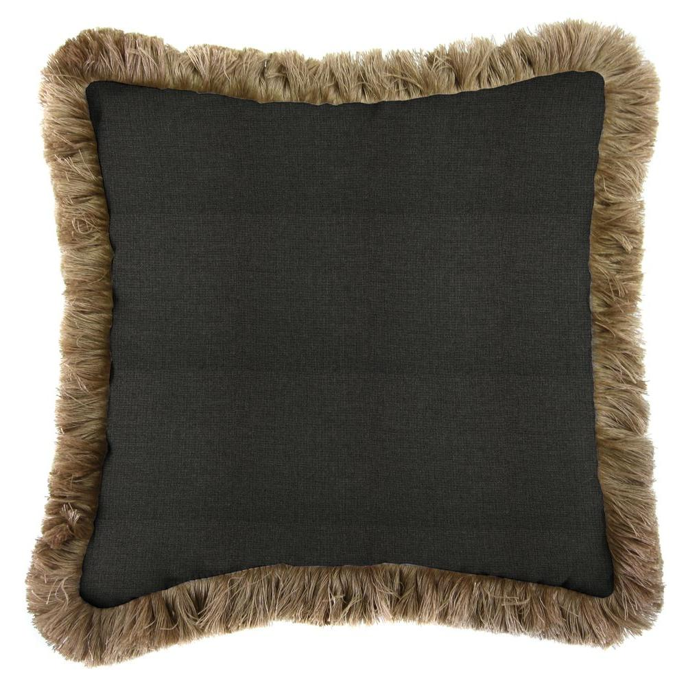 Jordan Manufacturing Sunbrella Spectrum Carbon Square Outdoor Throw Pillow with Heather Beige Fringe
