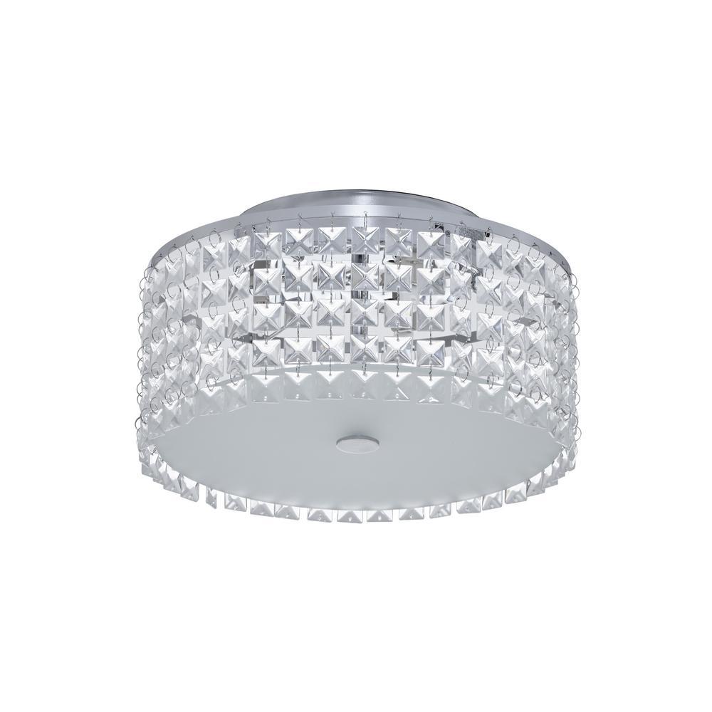 Glam Cobalt 3-Light Brushed Chrome Ceiling Light