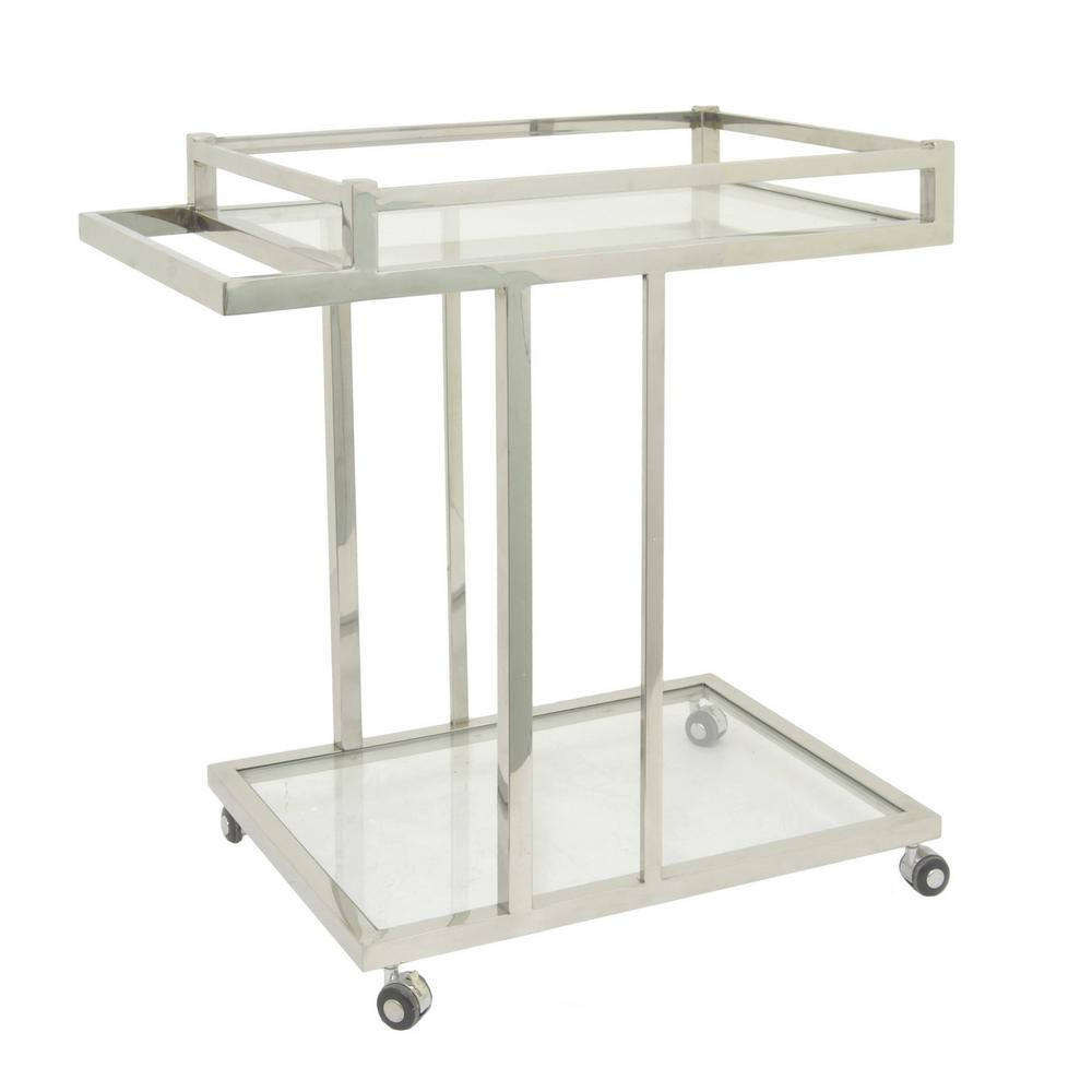 31 in. Silver Metal/Glass Bar Cart