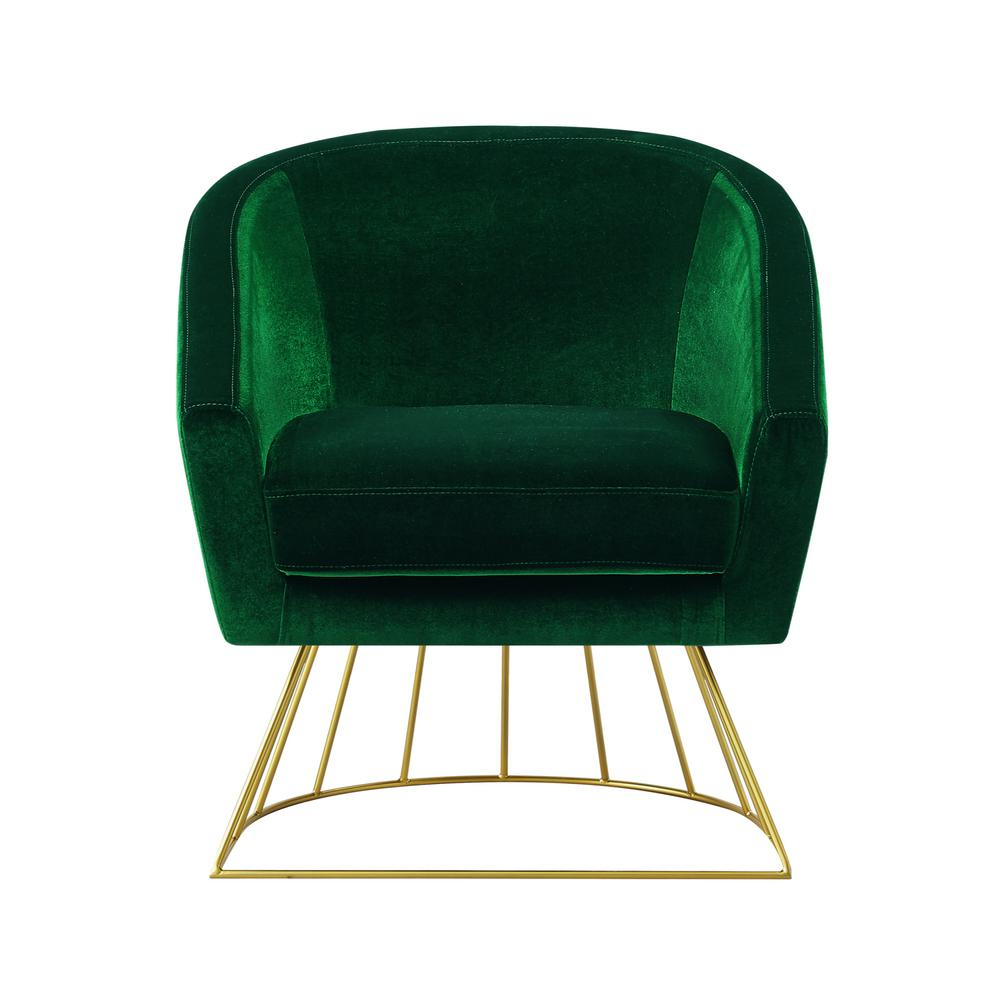 Inspired Home Esmeralda Velvet Green Gold Modern Contemporary Barrel Accent Chair With Metal Base