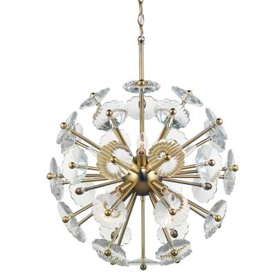 Floret 8-Light Satin Brass Chandelier with Clear Crystal Accents