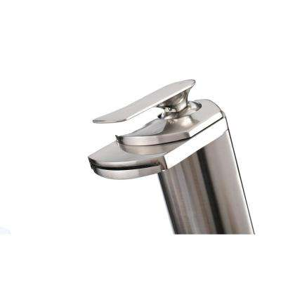Single Hole 1-Handle Waterfall Vessel Bathroom Faucet in Brushed Nickel