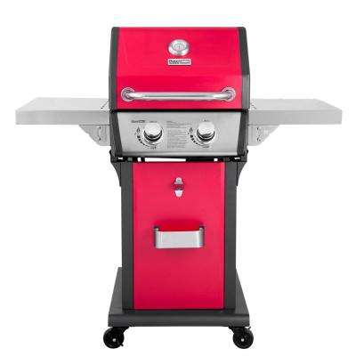 Deluxe 2-Burner Patio Propane Gas Grill in Red with Folding Side Tables