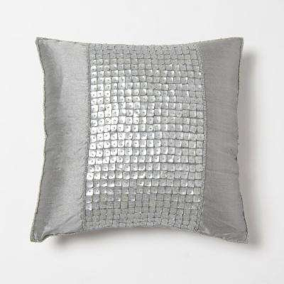 Faux Silk Mother of Pearl Silver Pillow