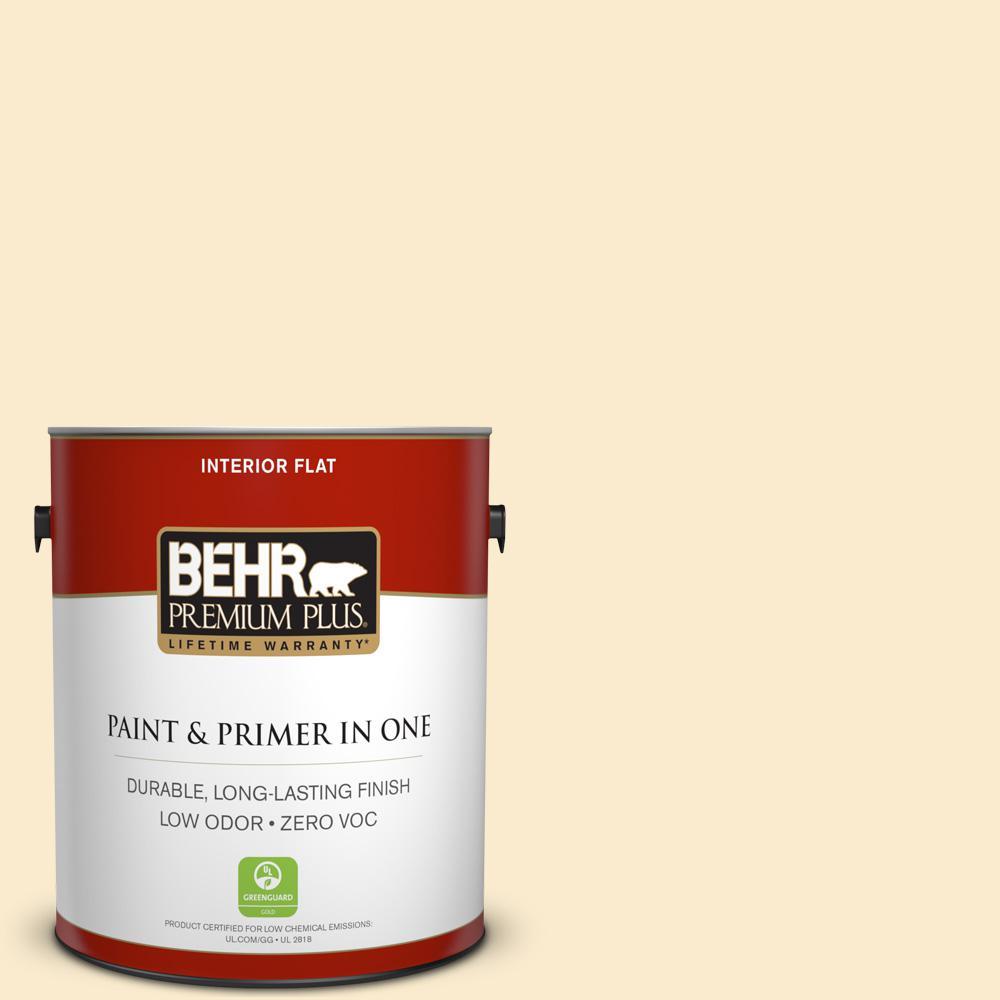 BEHR Premium Plus 1-gal. #350E-2 Honey Moth Zero VOC Flat Interior Paint