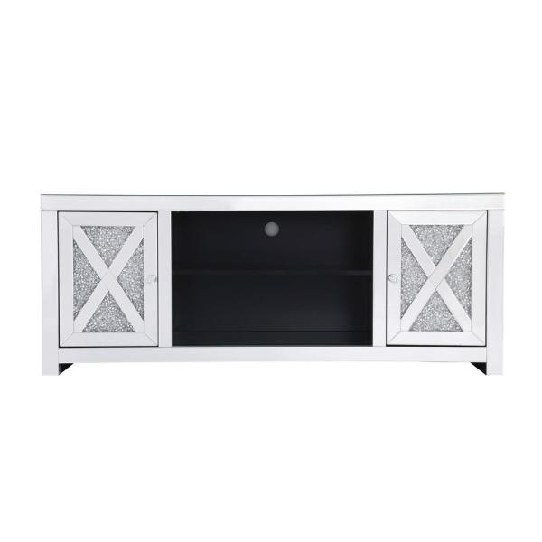 Timeless Home 59 in. TV Stand/Stand in Clear Mirror with 2-Storage Doors Fits 60 in. TV