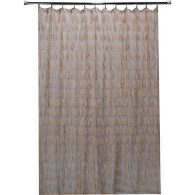 Chichi 76 in. Sable Cascading Tulle Petal Shower Curtain