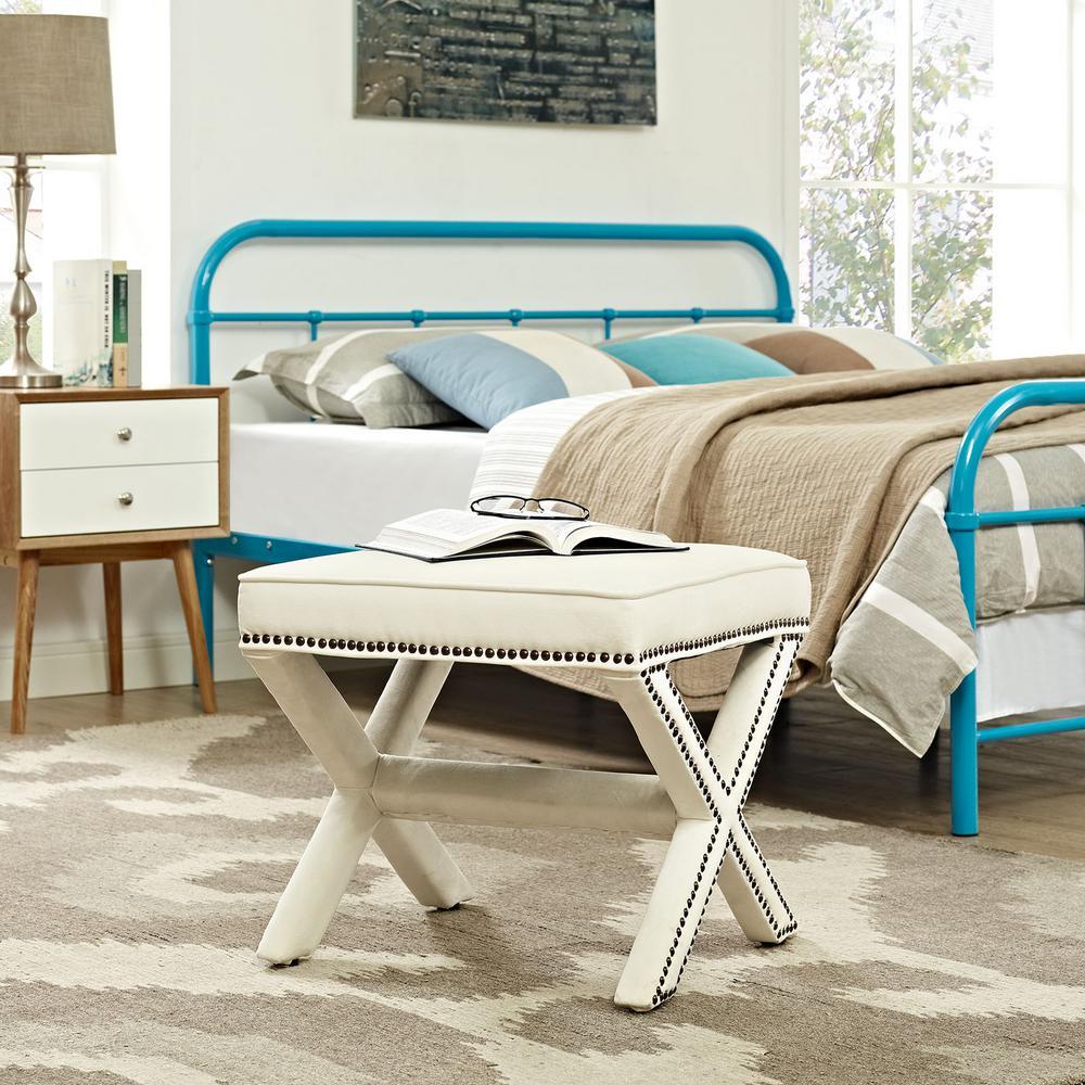 Remarkable Modway Rivet Ivory Bench Eei 2324 Ivo The Home Depot Creativecarmelina Interior Chair Design Creativecarmelinacom