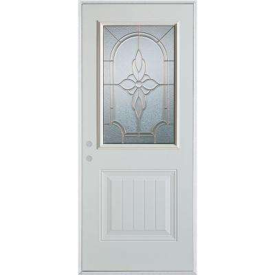37.375 in. x 82.375 in. Traditional Brass 1/2 Lite 1-Panel Prefinished White Right-Hand Inswing Steel Prehung Front Door