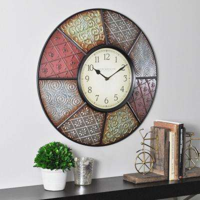 20.5 in. Round Patchwork Wall Clock