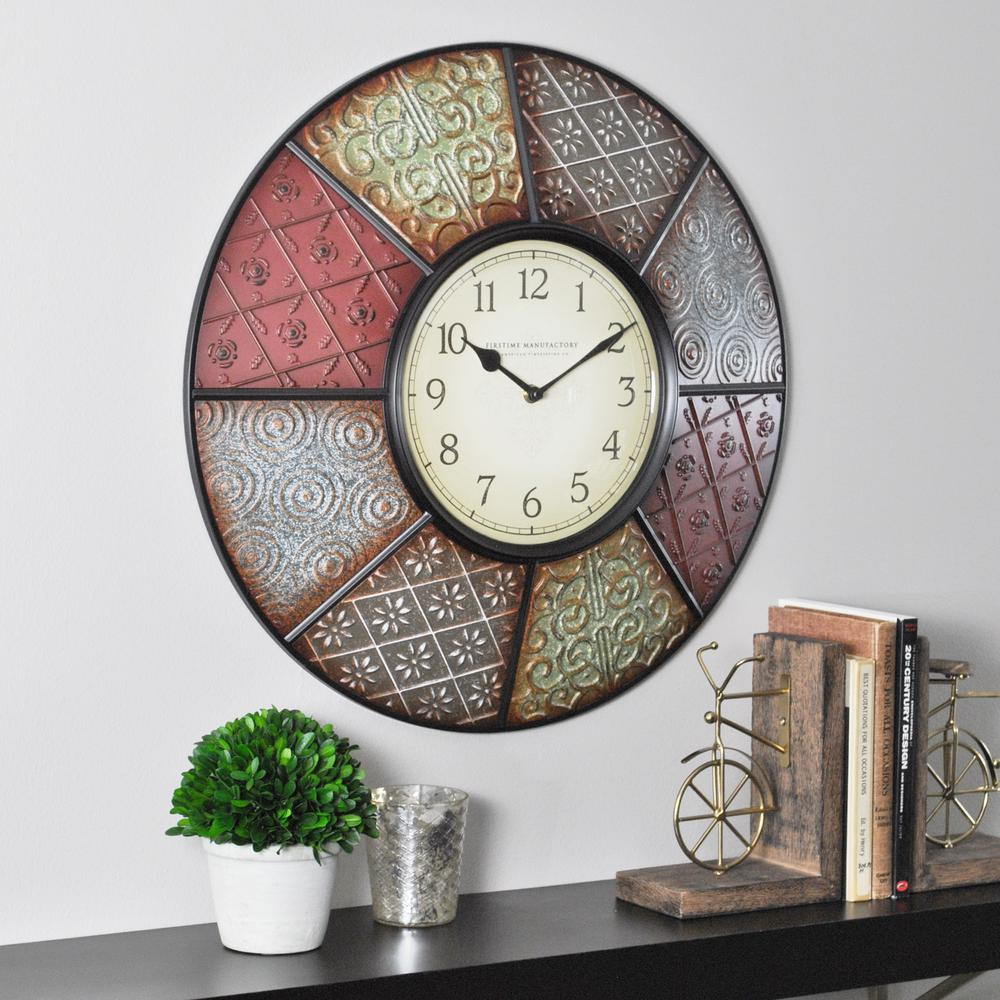 Wall clocks wall decor the home depot round patchwork wall clock amipublicfo Choice Image