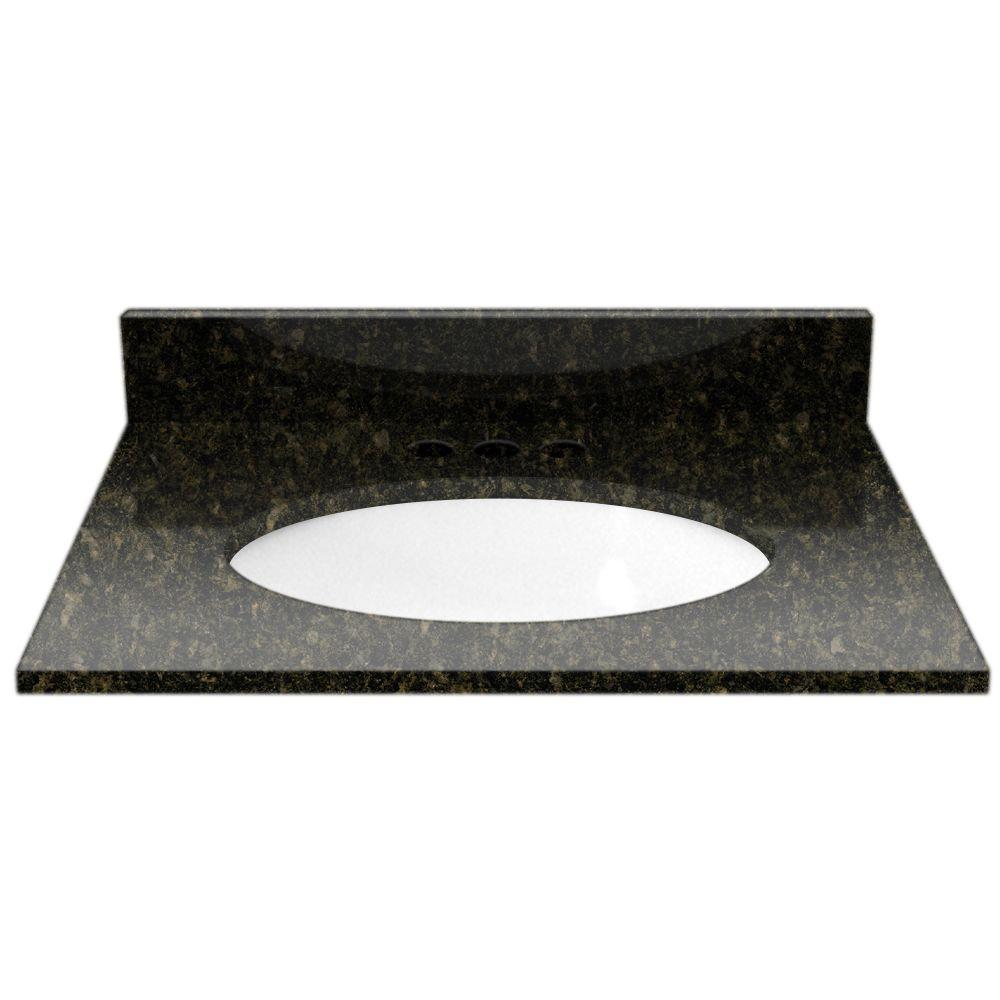 Cardell 25 in. Granite Vanity Top in Uba Tuba with White Basin
