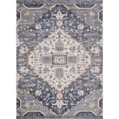 Olympus Medallion Blue Rectangle Indoor 9 ft. x 12 ft. Area Rug