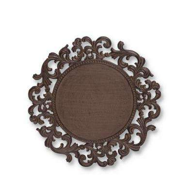 14 in. D Original Acanthus Leaf with Brown Metal Charger (Set of 4)