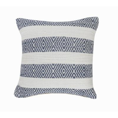 Rivera Indigo / White Geometric Stripped Soft Poly-Fill 18 in. x 18 in. Throw Pillow