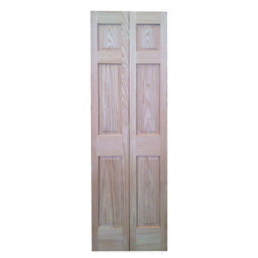 36 In X 80 In 6 Panel Solid Core Oak Interior Closet Bi