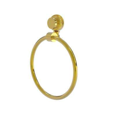 Venus Collection Towel Ring with Twist Accent in Polished Brass