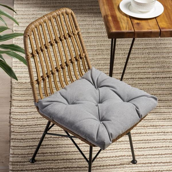 Noble House Blue Lagoon 19 In X 3 15 In Outdoor Dining Chair Cushion In Charcoal 68640 2 The Home Depot