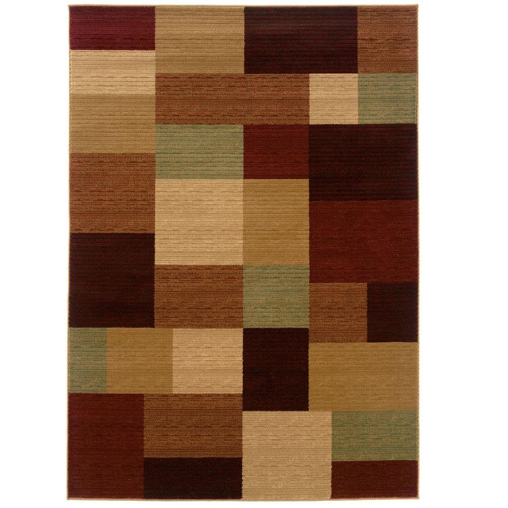 LR Resources Contemporary Cream and Cherry Rectangle 9 ft. 2 in. x 12 ft. 5 in. Plush Indoor Area Rug