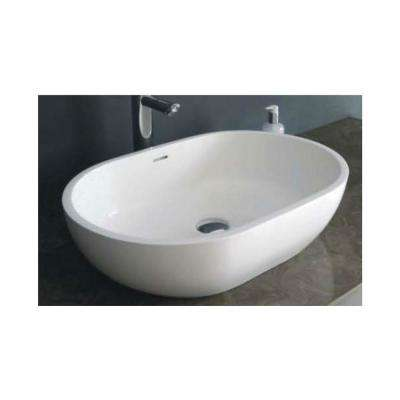 Matt Solid Surface Vessel Sink in White without Faucet