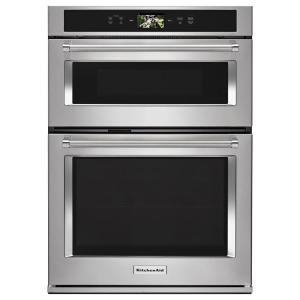 KitchenAid 30 in. Electric Convection Wall Oven with Built-In Microwave and  Powered Attachments in Stainless Steel-KOCE900HSS - The Home Depot