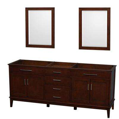 Hatton 78.5 in. Vanity Cabinet with Mirror in Dark Chestnut