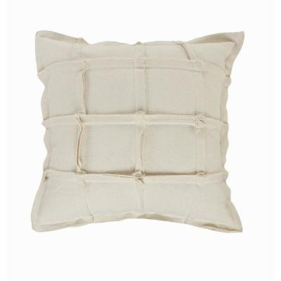 Grid Beige Geometric Squares Cozy Poly-Fill 20 in. x 20 in. Throw Pillow