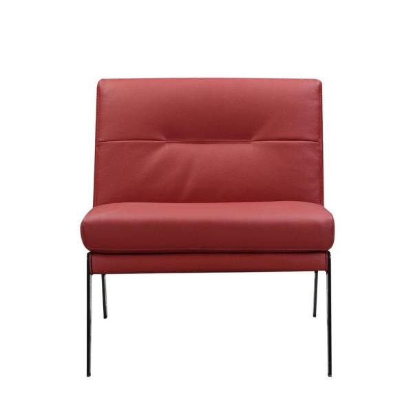 Charlie Red Leather Accent Chair