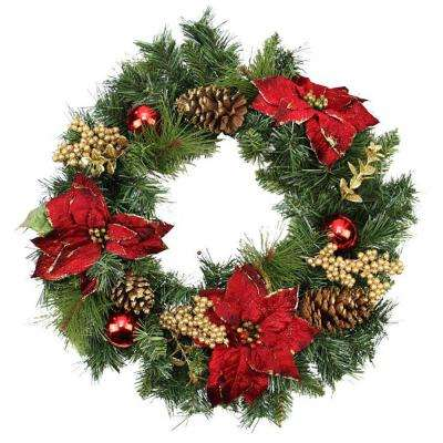 24 in. Unlit Artificial Mixed Pine with Red Poinsettias Gold Pine Cones and Berries Christmas Wreath