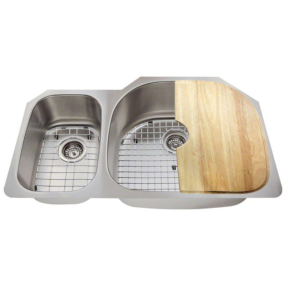 Polaris Sinks All In One Undermount Stainless Steel 35 In Right Double Bowl Kitchen Sink Pr905 18 Ens The Home Depot