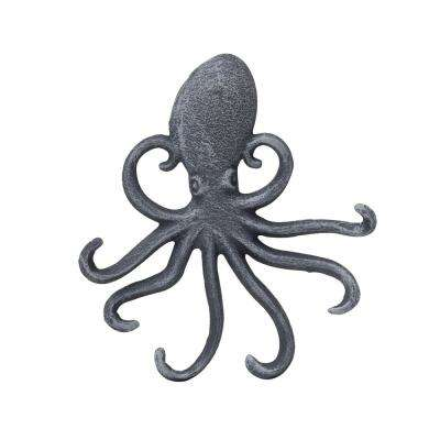 6 in. Silver Cast Iron Octopus Wall Hook
